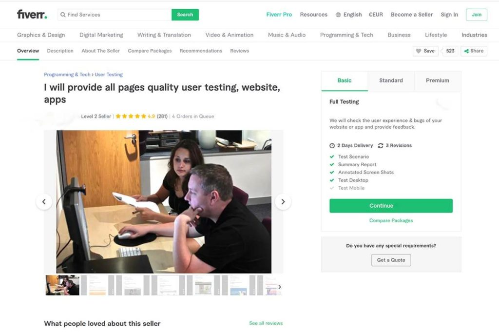 Recruiting usability testing participants from Fiverr