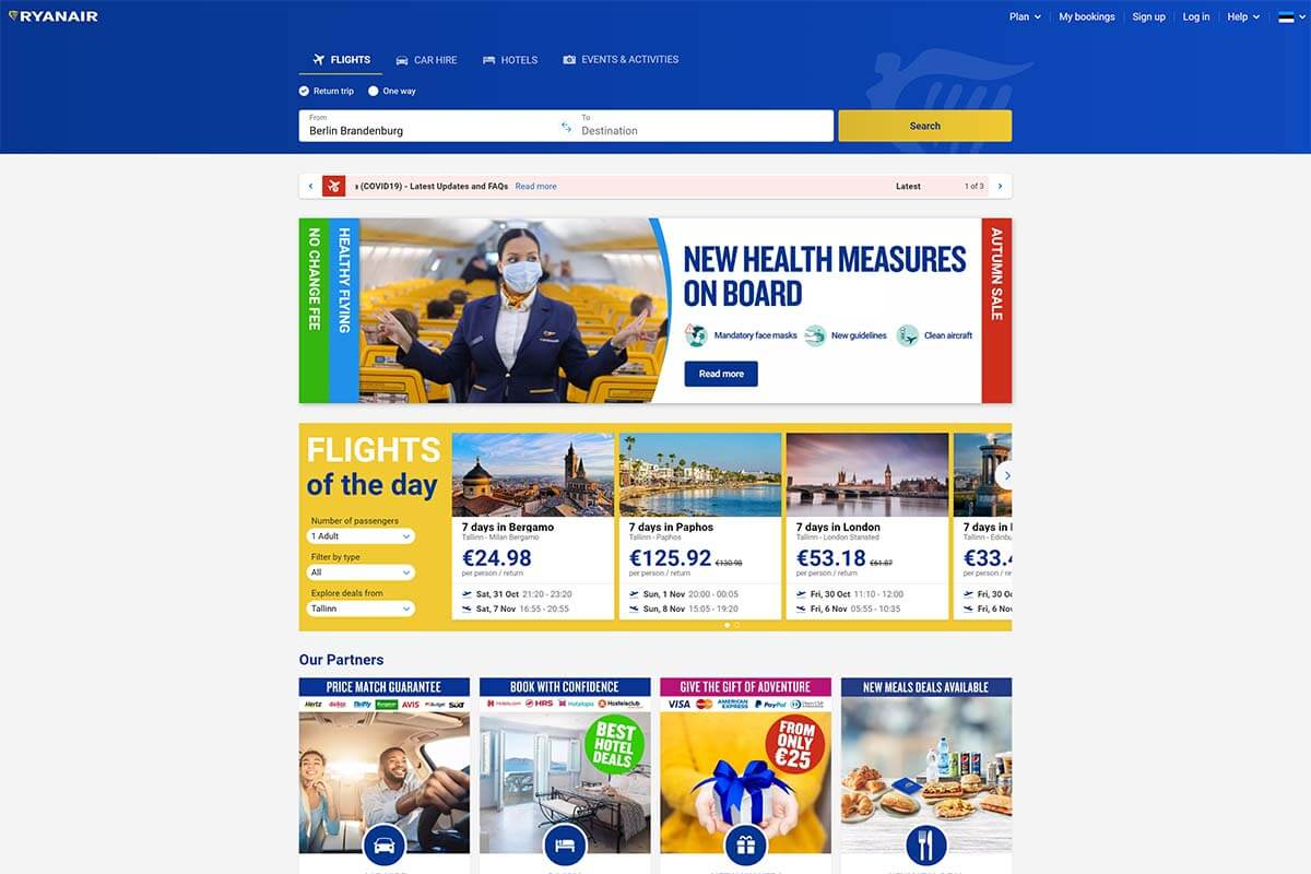 Ryanair's new website design